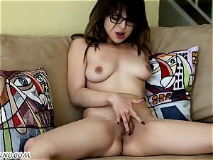 Bespectacled schoolgirl's solo porno for you