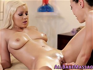 huge-boobed masseur frigged