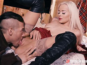 lil' red railing bondage mask Elsa Jean penetrated scrotum deep by hung hunter