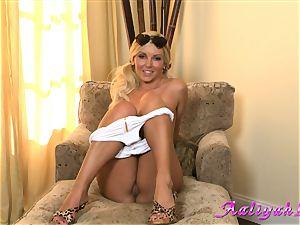 Aaliyah enjoy hot light-haired honey in white bikini