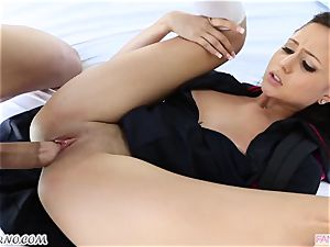 step-brother drills his younger sis Ariana Marie after lessons