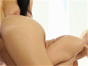 Yoga cuties Romi Rain and Summer Brielle fucked by the trainer