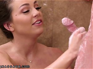 NuruMassage Abigail Mac begs Step-Bro to Get in bathroom