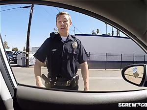 CAUGHT! dark-hued nymph gets busted deep-throating off a cop