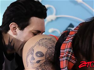 jaw-dropping tatted students threeway pulverizing with lust
