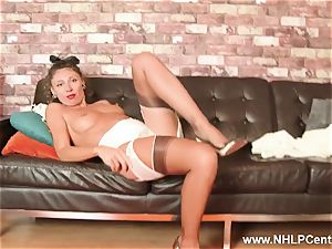 fashionable cougar wanks in lingerie garters high stilettos nylons