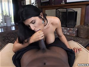 big-titted brown-haired Romi Rain thrashed by a masive black cock