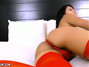 Sophia Leone in scorching red lingerie