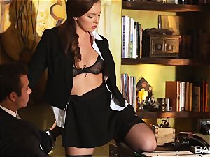 Maddy OReilly is torn up over the desk by the chief