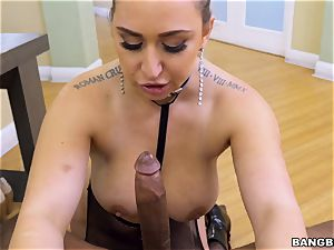 Nina Kayy throating on a large black man-meat