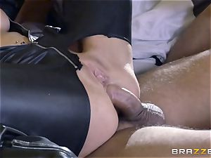 rough in rubber Romi Rain gets fucked by three hot cocks