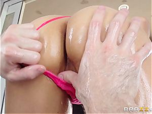 Sarah Vandella endures an oily ass-fuck romping