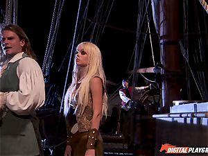 Pirate rams his rigid meat sword into Devon and Teagan Presley