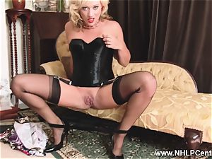 blonde in vintage wear nylon panties tugging wet gash