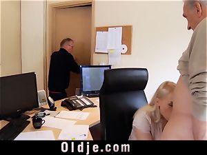youthful secretary drills old sausage oral job mouth jizz shot
