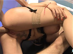 LA COCHONNE - French stunner gets double penetration in scorching MMF threesome