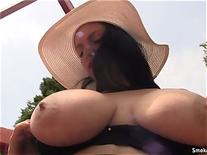 Natalie outdoor smoking break