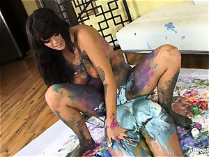Painted lezzies with Alison and Kelly Divine