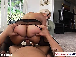 kinky Bridgette B. takes his pole between her mounds
